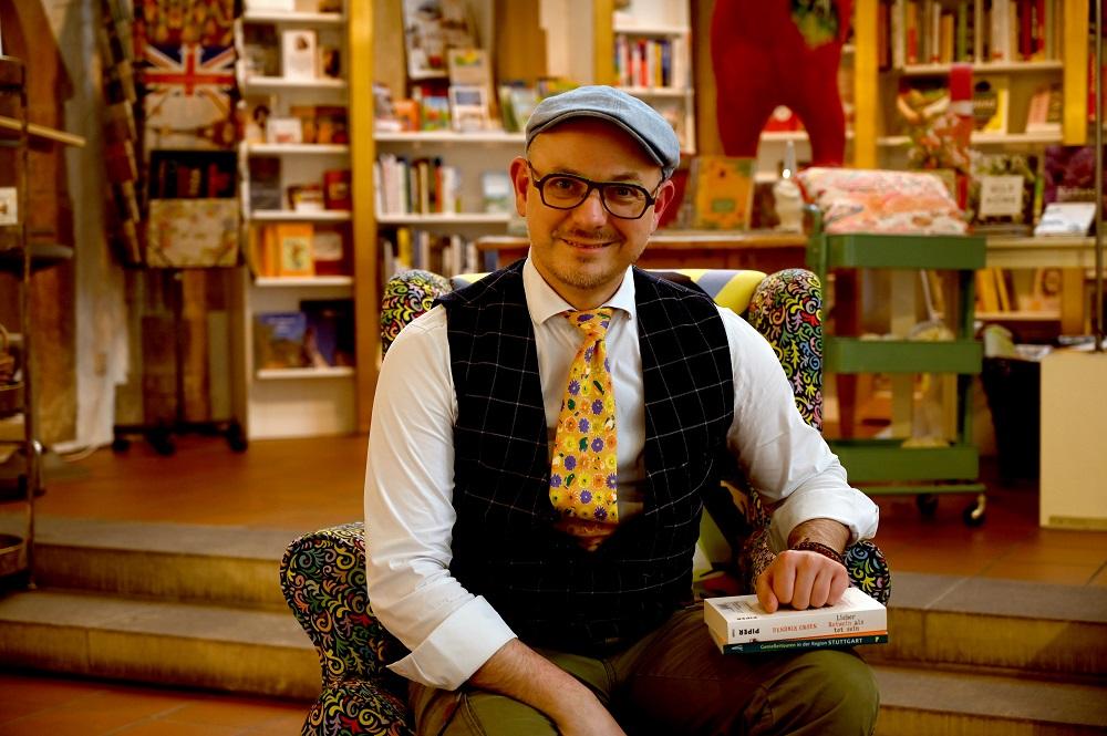 Markus-Schneider, Chef der Buchhandlung Taube in Marbach